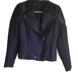 Zara Mixed Media Asymmetrical Leather Floral Coat